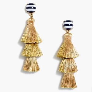 J.CREW FACTORY striped & solid gold tassel earring